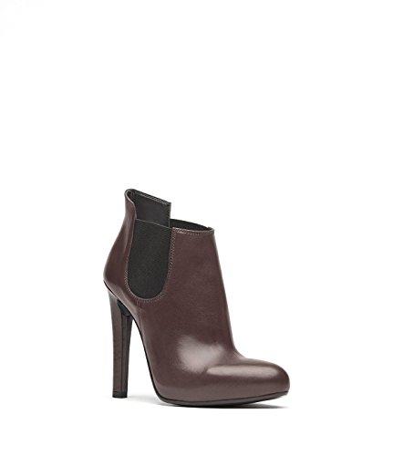 PoiLei Liz - Damen-Schuhe / spitz-zulaufende High-Heel Stiefelette aus Echt-Leder - Ankle-Boot mit Stiletto-Absatz und slip-on Gummi-zug - braun