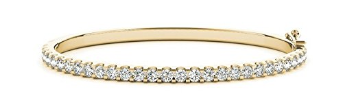 2 Carat Classic Stackable Diamond Bangle Bracelet 14K Yellow Gold Premium Collection