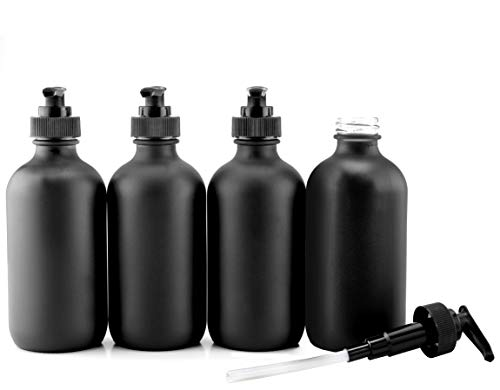 Cornucopia Brands Black Coated 8-Ounce Glass Pump Bottles (4-Pack), Black Plastic Pump Nozzles Included; Great for Lotions, Liquid Soap Dispenser & Hand Sanitizer