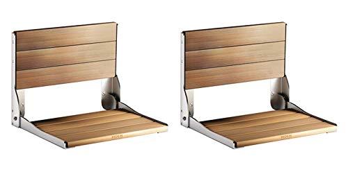 Moen DN7110 Teak Wood Folding Shower Seat, Aluminum (Pack of 2)