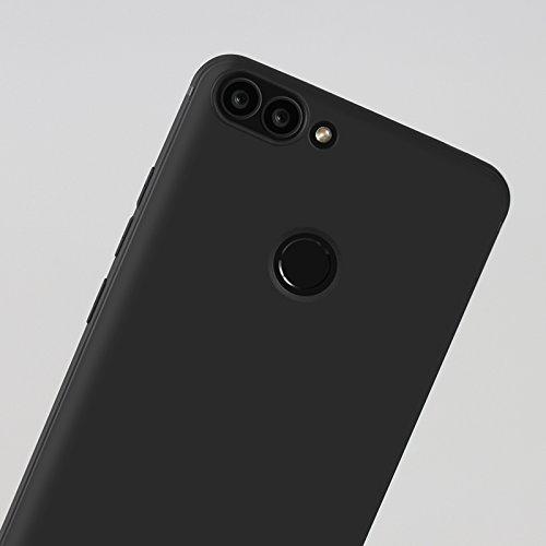 Funda para Huawei P Smart / Huawei Enjoy 7s , IJIA Puro Negro Soñador Mariposas TPU Silicona Suave Cover Tapa Caso Parachoques Carcasa Cubierta Case para Huawei P Smart / Huawei Enjoy 7s (5.65) Black-Clear