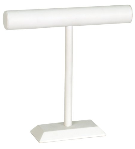 KC Store Fixtures 49135 Jewelry T-Bar Display for Necklace and Bracelets, White Leatherette, 12 Inches High