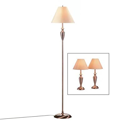 Antique Copper 3-Piece Table and Floor Lamp Set