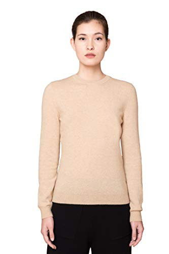 Goyo Cashmere Women's 100% Pure Cashmere Sweater – Long Sleeve Crewneck Pullover (Beige, XL)