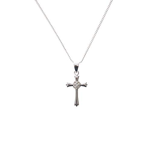 Cross Tone Budded (Dicksons Budded Cross with Jewel-Tone Floral Center Silver-Plated 18-Inch Pendant Necklace)
