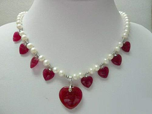 - FidgetGear Real 7-8mm White Pearl Red Jade Heart 18KWGP Clasp Women Lady Pendant Necklace