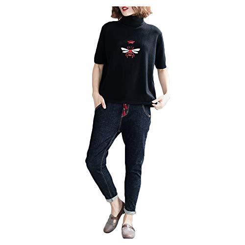 della del di di maglione selvaggio era sheng Black autunno sottile base Il basso grande ricamato collare maglione allentato modo Ju Eaq0wXAxA
