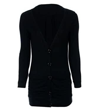 Vip Boutique Womens Button up Pocket Cardigan (US 6-8(UK8-10), BLACK)