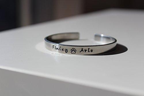 Pet remembrance bracelet, dog necklace bracelet, dog jewelry, paw print bracelet, pet bracelet, dog paw bracelet, custom dog bracelet, cuff (Dog Jewelry)