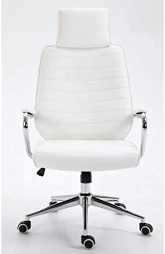 White Evre High-Back Executive Faux Leather Swivel Office//Computer Desk Chair with Ergonomic Design and Adjustable Height