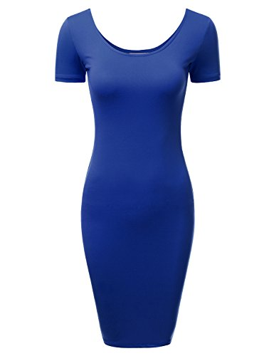 DRESSIS Women's Short Sleeve Scoop Neck and Back Bodycon Mini Dress ROYAL S