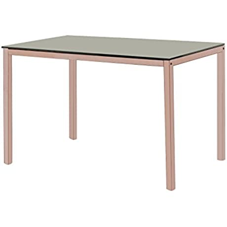 Kings Brand Rose Copper Metal With Black Tempered Glass Kitchen Dinette Dining Table