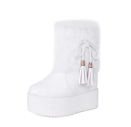 Botines Boda Toe White 13cm De Zapatos 40 Tacón Tamaño Bota Plataforma Redondo Eu 6cm 34 Nieve Mujer Tobillos Bowknot Cuña Felpa Wrzn5qrY