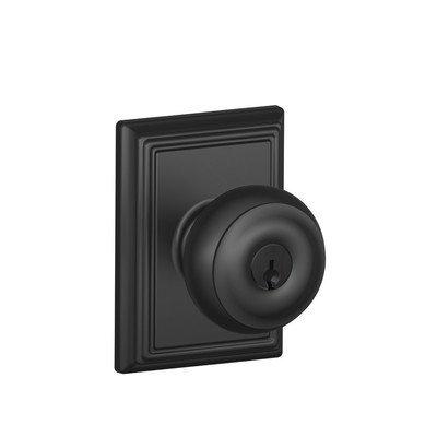 Schlage Lock Company F51AGEO622ADD Matte Black Georgian Keyed Entry F51A Panic Proof Door Knob with Addison Rosette by Schlage Lock Company