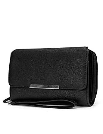 MUNDI Big Fat Womens RFID Blocking Wallet Clutch Organizer Removable Wristlet ((Black))