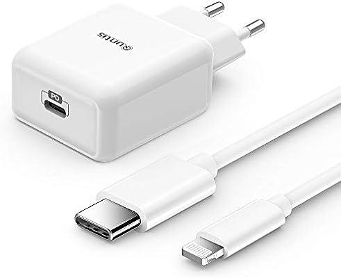 Quntis 18W Cargador Rapido de iPhone+ 1.8M USB C a Lightning Cable, Certificado MFi Tipo C Adaptador de Corriente USB con Quick Charge 3.0 y PD 3.0 ...