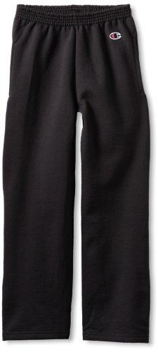 Champion Big Boys' Open Bottom Pant, New Black, Small