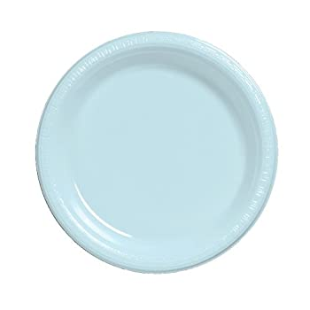 Creative Converting Touch of Color 20 Count Plastic Lunch Plates, Pastel Blue
