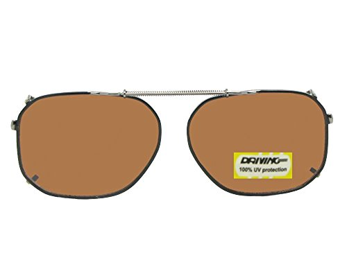 Modified Aviator Non Polarized Amber Driving Clip On Sunglasses (Black-Non Polarized Amber Lens, 58mm Width x 45mm Height)