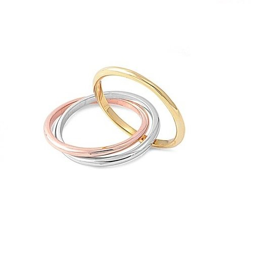 Amythyst Tri Color Stainless Steel Three Interlocked Rolling Band Rings (Size 9)