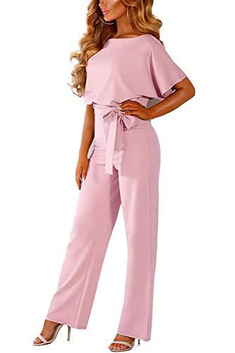 (YEEKA Rompers for Women Short Sleeves Elegant Playsuit Wide Leg Jumpsuit Belted (X-Large, Pink))