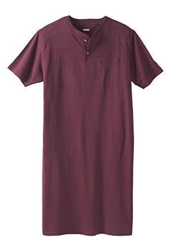 KingSize Men's Big & Tall Short-Sleeve Henley Nightshirt, Deep Burgundy Big-7XL/8X