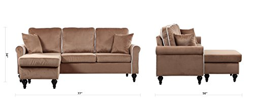 Classic And Traditional Small Space Velvet Sectional Sofa
