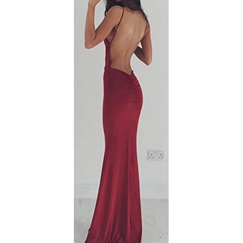 67b1a6dfd4 cheap Kleider Damen Festlich Abendkleider Lang Elegant Ärmellos V  Ausschnitt Schulterfrei Mädchen Kleidung Rückenfrei Slim Fit