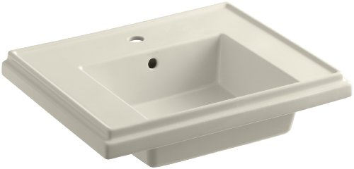 KOHLER K-2757-1-47 Tresham 24-Inch Pedestal Bathroom Sink Basin with Single-Hole Faucet Drilling, Almond -