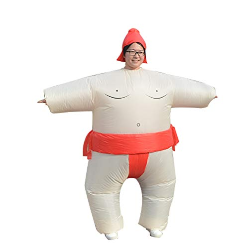 HHARTS Sumo Inflatable Costume Blow up Wrestling Wrestler Costume for Halloween Cosplay Party Christmas (Red) -