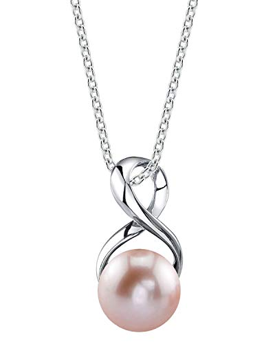 THE PEARL SOURCE 9-10mm Genuine Pink Freshwater Cultured Pearl Infinity Pendant Necklace for ()