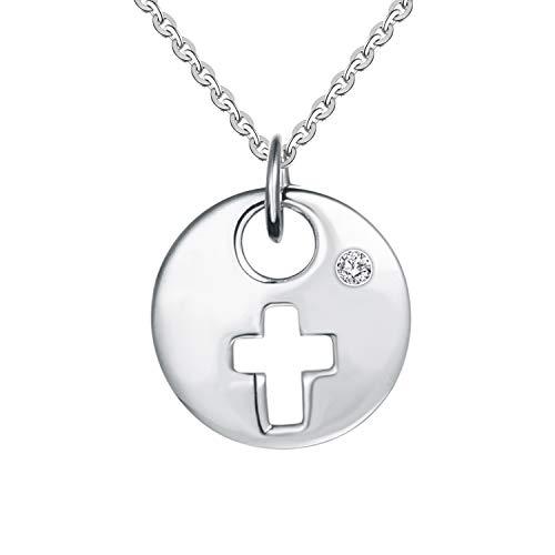 YL 18K White Gold Cross Diamond Disc Pendant Necklace for Women