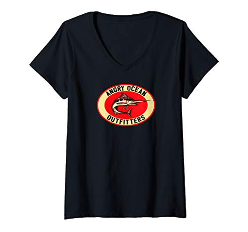 Womens Angry Ocean Outfitters Marlin Deep Sea Fishing V-Neck T-Shirt