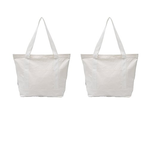Natural Cotton Shoulder Bag (Augbunny Heavy Duty 100% Cotton Canvas Zipper Beach Shoulder Grocery Tote Bag With Outer Pocket 2-pack)