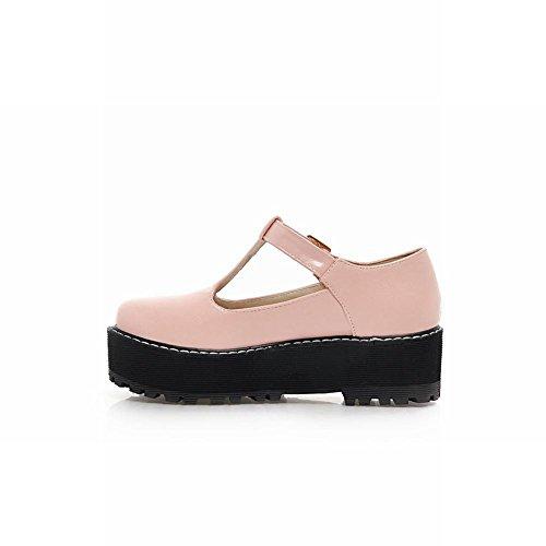 Carol Shoes Women's Concise Casual Mid Heel T-strap Platform Shoes Pink HFyiETwov