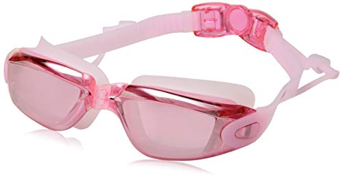 Qlten Womens Swim Goggles + Swim Caps, Swimming Goggles No Leaking Anti Fog UV Protection for for Girls Adult (Pink)