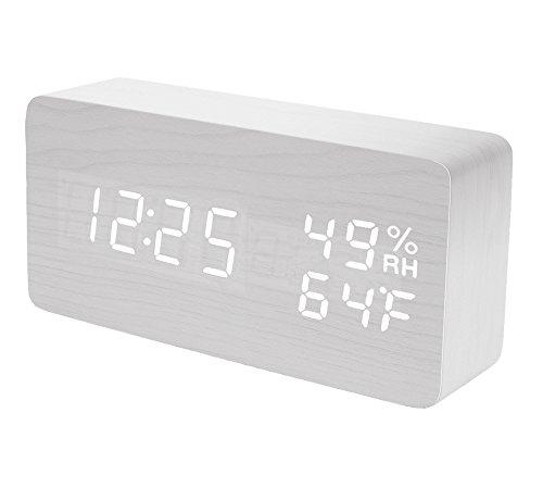 Raercodia Wooden Alarm Clock Modern Wood Clock Digital
