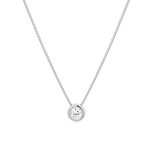 Christmas Gift Luxury Diamond Gold Necklace White Natural Diamond Necklace Gifts For Women 10K White Gold 0.05 Ct I2-I3-HI Diamond Solitaire Pendant Necklace (Diamond Jewelry Gifts For Women)