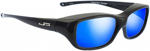 Queeda Eternal Black - Polycarbonate Polarized Gray with Blue Mirror Lens Coating Designed to Be Worn Over Medium - Polycarbonate Polarized Lenses Vs