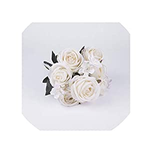 crystal004 12 Heads/Bouquet Real Touch Silk Rose Artificial Flowers Vivid Peony Fake Flower Bridal Wedding Decoration Wreath G9250,White 9