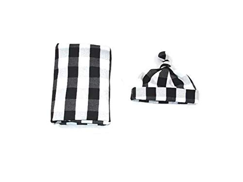 Copper Robin Black and White Buffalo Plaid Swaddle Blanket and Hat Set, Large Receiving Blanket, Newborn Beanie hat (White/Black Plaid (Prime))