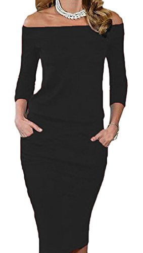 Solid Party Bodycon Shoulder Womens Long Dress Off Black Jaycargogo Elegant xwAISqw