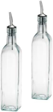 SET OF 2 - 16 Oz. (Ounce) Oil Vinegar Cruet, Square Tall Glass Bottle w/Stainless Steel Pourer Spout