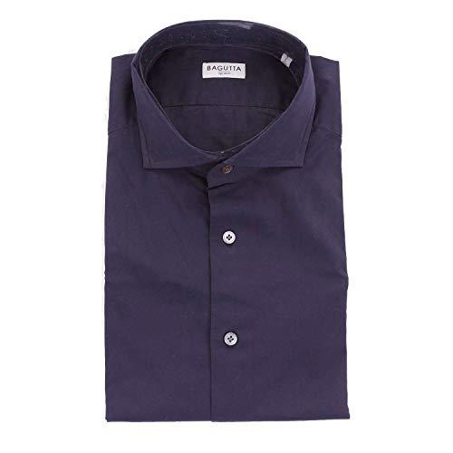 Bagutta Men's Sienab00170darkblue Blue Cotton Shirt