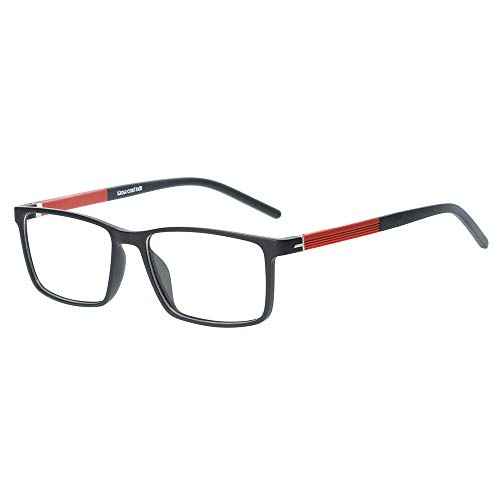 Kids Teens Children Glasses Frame Flexible Cute Black and Red Eyewear Frame with Clear Square Lens for Boys Girls(Age ()