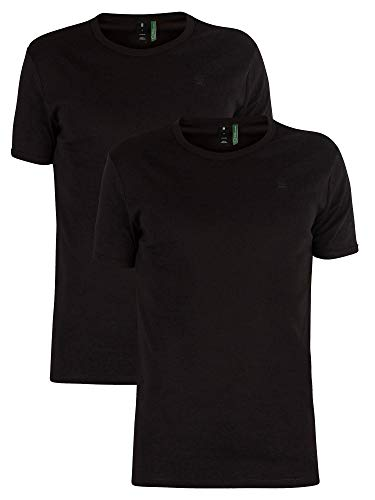 G-Star Men's 2 Pack Slim Crew T-Shirts, Black, Large (G Star Raw T Shirts In India)