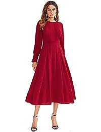 Women's Elegant Frilled Long Sleeve Pleated Fit & Flare Dress