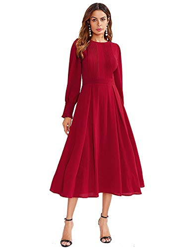 Milumia Women's Elegant Frilled Long Sleeve Pleated Fit & Flare Dress X-Large Red