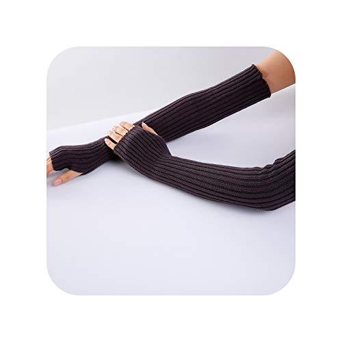 Winter Autumn Wrist Hand Warmers Women Men Knitted Long Fingerless Gloves Sleeve Soft Warm Mitten Elbow Mittens11One Size