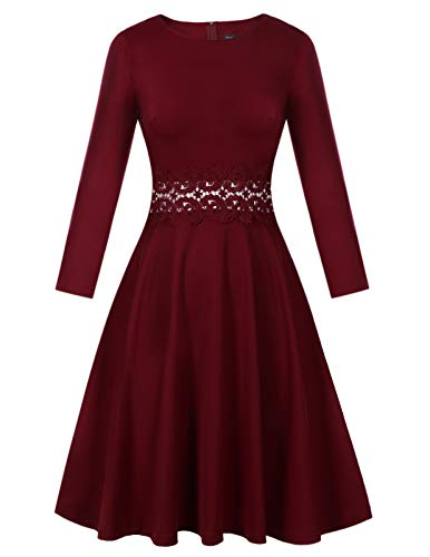 MAVIS LAVEN Women Long Sleeve A Line Embroidery Cocktail Swing Party Guest Dress Wine Red